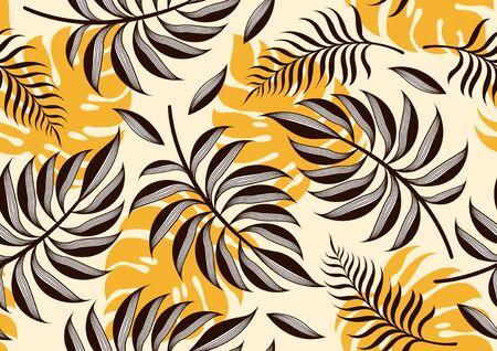 Tropical Leaves Seamless Pattern, Floral Background, vector illustration. Ilustração