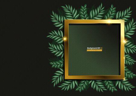 Square Gold Shape and leaf Background on Dark green Color