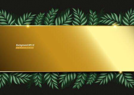 Gold background image and leaf on Dark green Color.