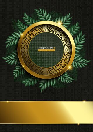 Circle Gold and leaf Background on Dark green Color Banco de Imagens - 149998205