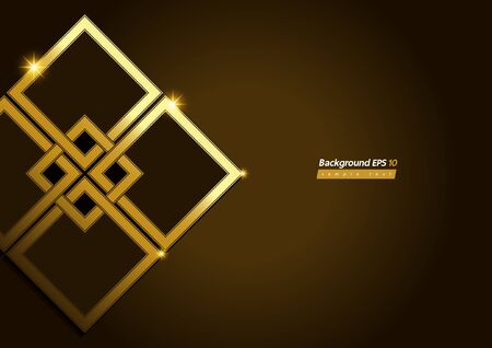 Square Shape, Modern Luxury Golden brown Color Background, Abstract texture, vector illustration. Banco de Imagens - 149998206