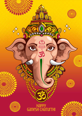 illustration of Lord Ganesha of india for traditional Hindu festival, Ganesha Chaturthi, background template, vector Banco de Imagens - 150946807