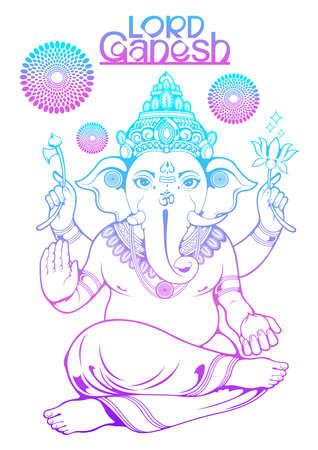 illustration of Lord Ganesha of india for traditional Hindu festival, Ganesha Chaturthi, background template, vector Ilustração