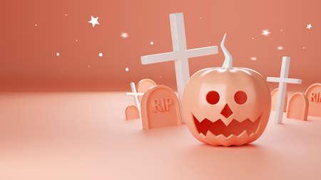 3d render of Happy Hallowee, pumpkin head jack, Cute cartoon on pastel color background. Banco de Imagens