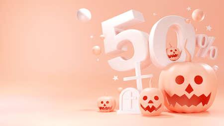 3d render of Happy Hallowee, pumpkin head jack, Sale 50%, Cute cartoon on pastel color background.