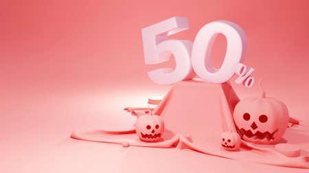 3d render of Happy Halloween, pumpkin head jack, Sale 50%, Cute cartoon on pastel color background.