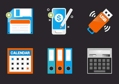 office icons, Business and finance, websites and social media Flaticon Design collection set.