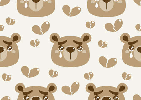Cute bear seamless pattern, A picture of a bear crying with and heart broken.