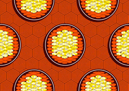 Picture of circles and hexagonal ground, african seamless pattern, image art and abstract background. Ilustração
