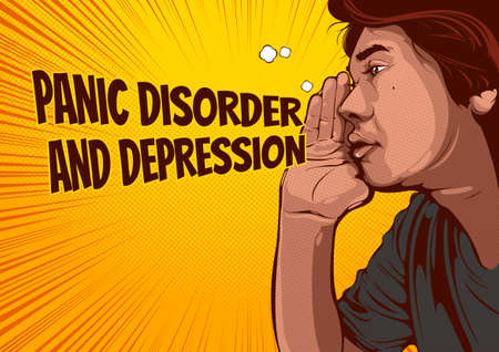 Man whisper or yelling or Gossip, speech bubbles About Panic Disorder and Depression , comic illustration and background, Pop Art style.