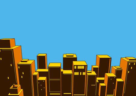 Classic City Comic, Cartoon background, illustration of buildings and roads. Ilustração