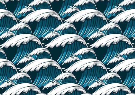 Sea waves hawaii seamless pattern, fashion background. Ilustração
