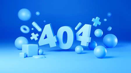 3d render of 404 error page not found design, pastel color background Banco de Imagens