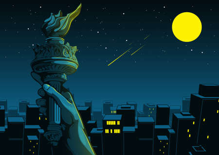 Hand of the Statue of Liberty, independence day, Night City Background, Comic background, illustration of buildings.