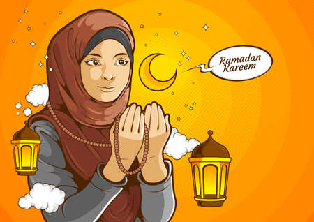 Muslim women, islamic female wearing hijab while raised hands and praying for Allah God in Ramadan Kareem holy month, comic illustration. Ilustração