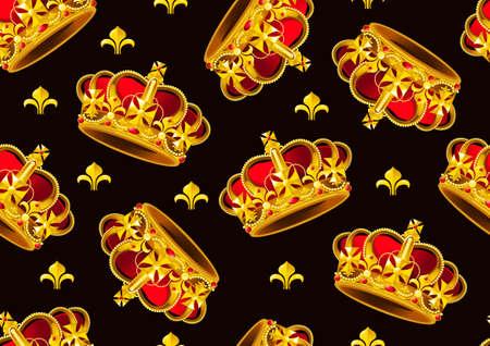 Golden Crown seamless pattern. Ilustração
