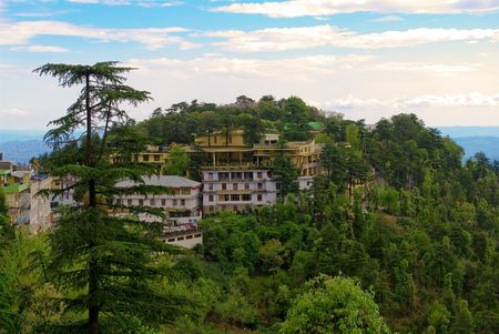View to Namgyal Monastery - the personal monastery of the Dalai Lama, which is located next to His Holiness residence in exile in Upper Dharamsala, - from the town of McLeodganj in Upper Dharamsala.