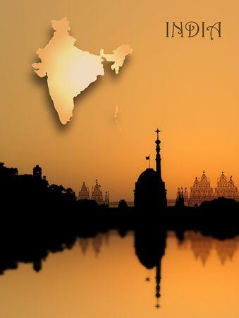 constitucion: Rashtrapati Bhavan - Presidente de la Casa de la India - y Mapa de la India.