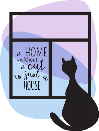 without window: Black silhouette of cat and window. Vector illustration. A Home Without A Cat Is Just A House.
