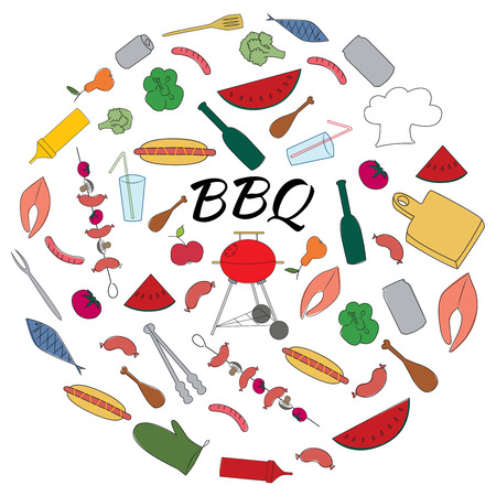 Hand Drawn Colored Set of Barbecue