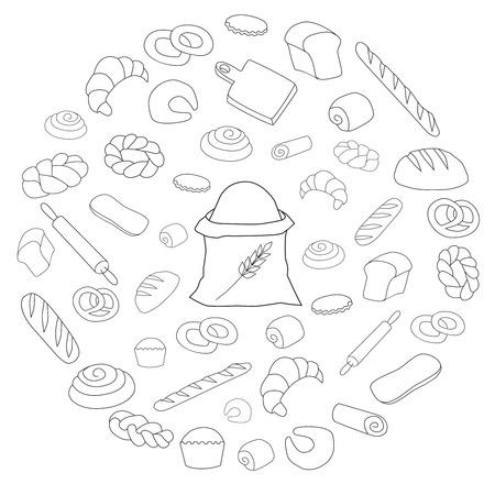 vector black bread icon round set on white
