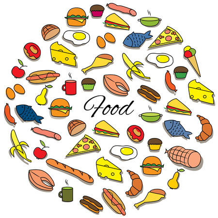 Hand Drawn Colorful Food Round Set