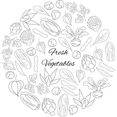 Illustration with fresh vegetables