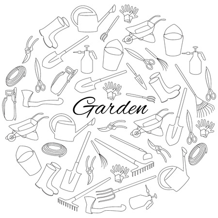 Hand drawn round set objects of garden tools and accessories