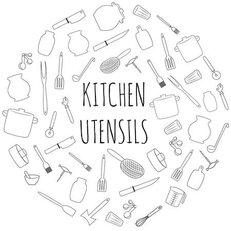 Kitchen utensils round set.