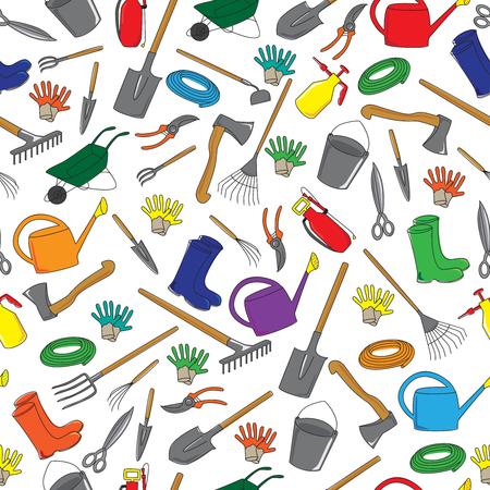 Seamless pattern of garden tools Illustration