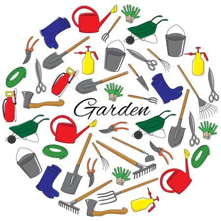 Hand drawn garden tools round set