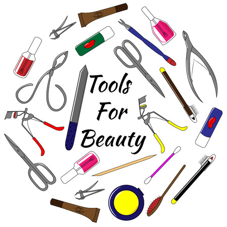 phalanx: Hand drawn set of tools for manicure. Colorful vector illustration