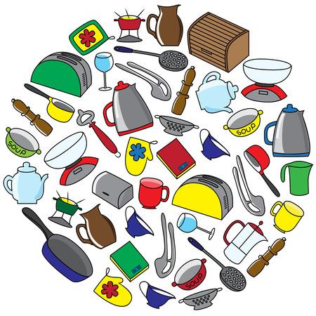 Kitchen utensils round set. Hand drawn kitchenware and cutlery. Vector illustration.
