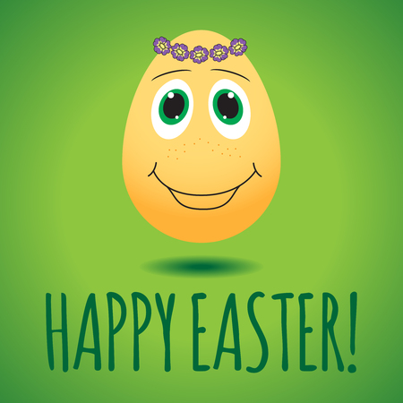 Vector illustration with funny egg on green background, dedicated to Happy Easter Day