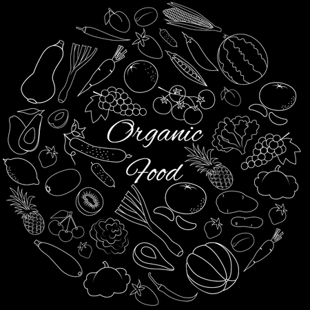 Hand drawn round vector set with white outline fruits, vegetables and berries on black