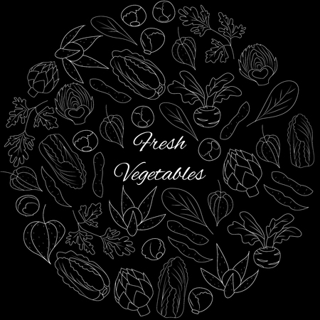 Vector Illustration with white outline vegetables on black background Illustration