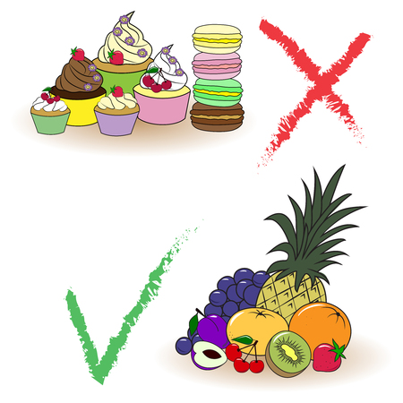 Balance between fruits and cakes. Right choice. Illustration