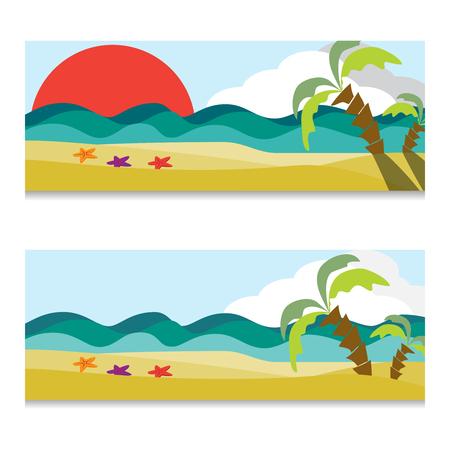Vector set of ocean or sea horizontal banners. Hand drawn illustration.