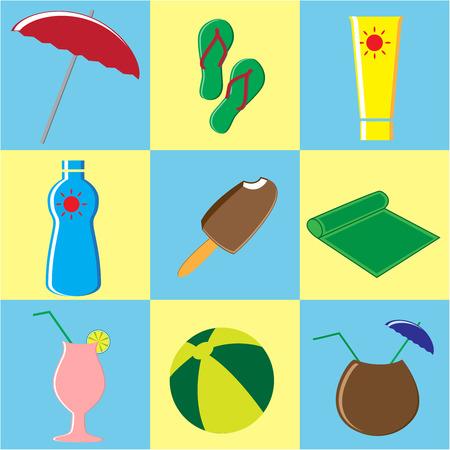 Summer Icons Set. Doodle Vector Illustration
