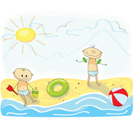 Little kids playing on the beach