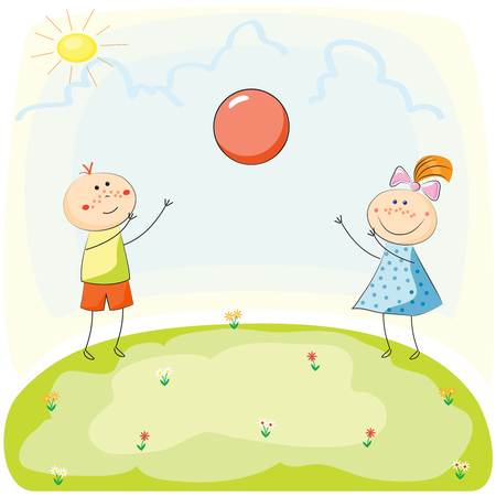 baby playing toy: Children playing with a Ball on the Hill. Hand Drawn Vector Illustration Illustration