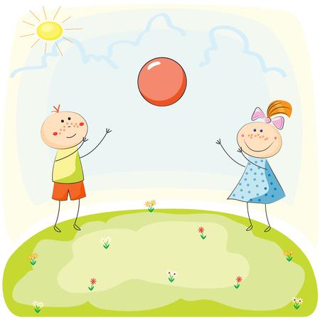 playmates: Niños jugando con una pelota en la colina. Dibujado a mano ilustración vectorial Vectores