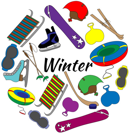 Colorful Set of tools of winter sports and games equipment