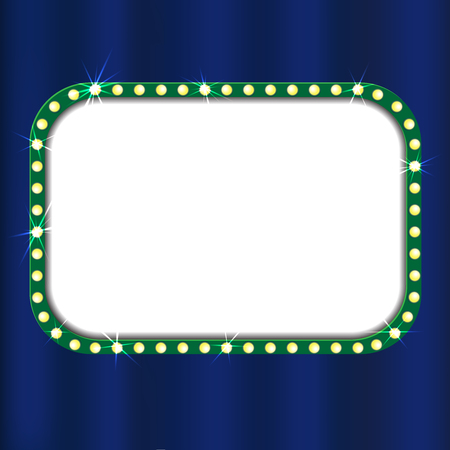 Theater sign on blue curtain. Vector illustration Vettoriali