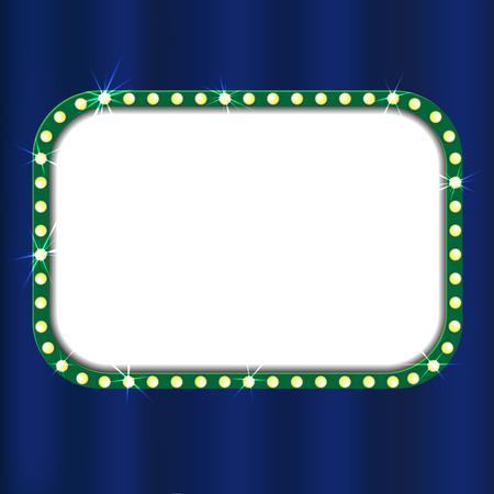 Theater sign on blue curtain. Vector illustration Stock Illustratie
