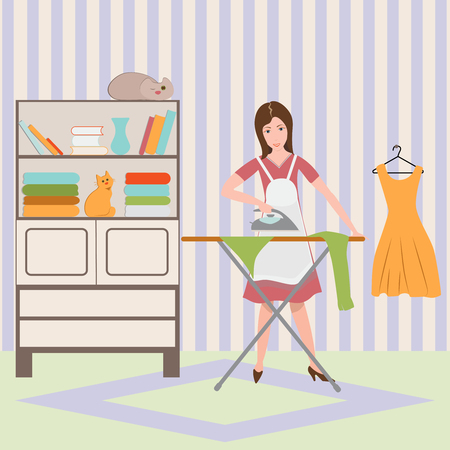 Housewife ironing shirt on ironing board. Flat vector illustration