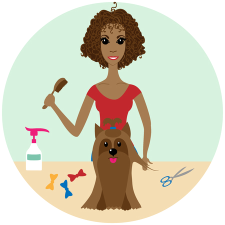 A vector illustration of a Pet Groomer Grooming a Dog at the Salon Illustration
