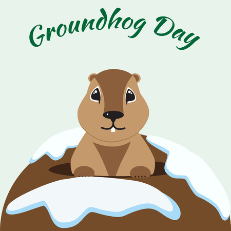 Happy Groundhog Day card with cute groundhog