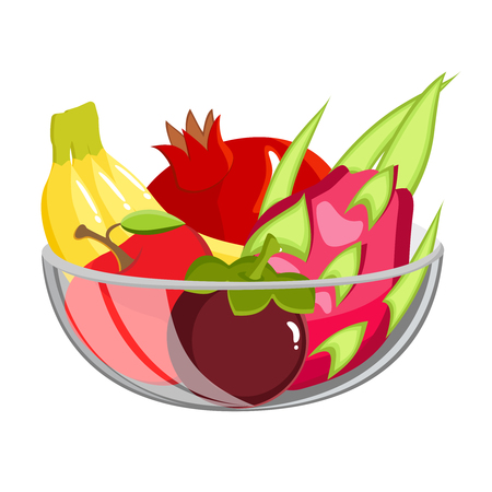 Exotic Fruit in glass bowl. Healthy vegetarian food isolated on white.