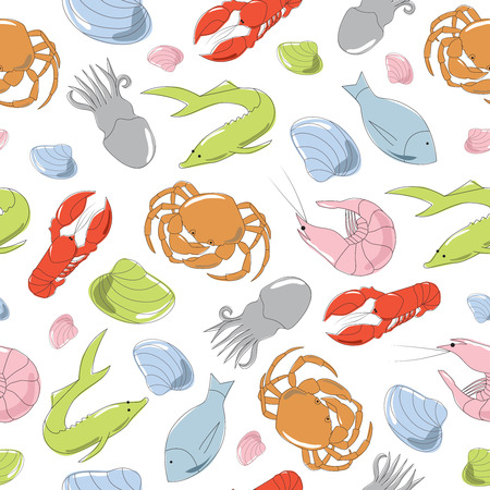Colorful hand drawn seamless pattern with seafood Illustration